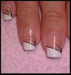 Simple french tip nails                                                                                                                                                     More
