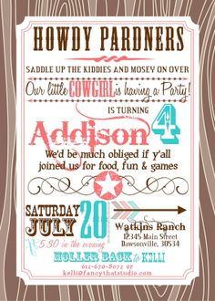 Cowgirl Birthday Party Printables Buckaroo Birthday FULL Collection on Etsy, $24.50
