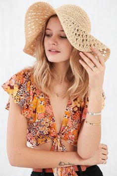 Pin for Later: This Is What Your Summer Outfits Are Missing  Kimchi & Blue Sun Daze Straw Floppy Hat ($34)