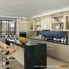 OP16-L12: Modern Light Yellow High Gloss Lacquer Kitchen Cabinet