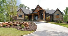 Ideas Home Exterior Brick And Stone Landscaping For 2019 Circle Driveway Landscaping, Stone Landscaping, Circular Driveway, Driveway Ideas, Rustic Houses Exterior, Craftsman Exterior, Craftsman Style Homes, Exterior Siding, Mansion Homes