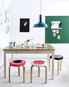 scandinavian stools (ikea?) look great with simple to crochet covers....