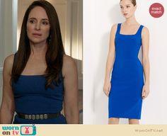 Victoria's cobalt blue pencil dress on Revenge. Outfit Details: http://wornontv.net/20594 #Revenge #ABC