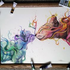 Here are striking watercolor drawings by Dany Lizeth who is 17 years old Mexican artist. Dany Lizeth is very young, creative and talented artist who creates colorful drawings of animals. Arte Inspo, Kunst Inspo, Art And Illustration, Illustration Animals, Landscape Illustration, Watercolor Illustration, Cool Drawings, Pencil Drawings, Colorful Drawings