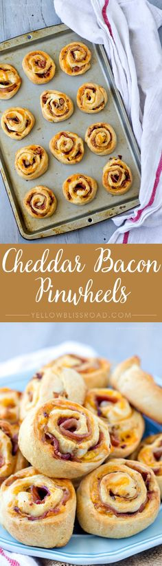 Three Ingredients and 20 minutes - Bacon Cheddar Pinwheel Snackers Yummy Appetizers, Yummy Snacks, Appetizer Dips, Appetizer Recipes, Brunch Recipes, Breakfast Recipes, Dinner Recipes, Breakfast Bites, Budget Meals