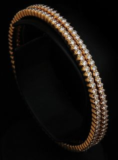 Gold Bangles Design, Gold Jewellery Design, Diamond Bangle, Diamond Jewelry, Bridal Bangles, Bridal Jewelry, Hand Jewelry, India Jewelry, Necklace Designs