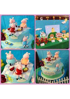 Gisele's 3rd Birthday - 'Peppa Pig' - Coconut cake w/chocolate & lime ganache & coconut cream frosting