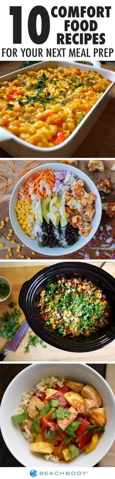Some days, the only thing that will cure a bad mood is a giant heap of comfort food. With these 10 recipes, you can make your favorite dishes for a healthy meal prep that you can enjoy all week! // meal prep ideas //  healthy recipes // meal prep monday // meal planning // Beachbody // BeachbodyBlog.com