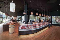 Maison Lespinasse – Cruz, S.L. Supermarket Design, Retail Store Design, Restaurant Exterior, Restaurant Design, Toulouse, Carnes Premium, Butcher Store, Carnicerias Ideas, Cafe Bar