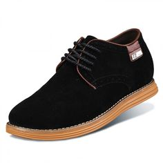 New Black Suede Leather Elevator Casual Shoes Get Taller 6cm / 2.36 inch Walking Shoes