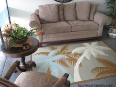 Palm trees swaying. Click to read my blog about this tropical rug for a Jaco beach business. Re-pin if you like this!  http://laurelsoriginals.com/interior-decorator/#