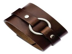 Men's Jewelry Steel and Brown Leather Cuff Adjustable Bracelet Available Exclusively at Gemologica.com