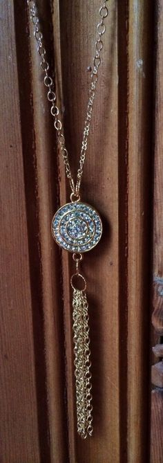 Long Gold Pave Chain Tassel Statement Necklace by JewelrybyRJ, $29.99