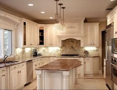 Remodeling Techniques Regarding Kitchen Cabinets NJ White Kitchen Cabinets, Kitchen Redo, New Kitchen, Kitchen Remodel, Kitchen Ideas, Kitchen Island, Antique White Cabinets, Cream Cabinets, Kitchen Hoods