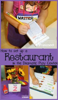 Tons of pictures, ideas and resources to help set up a kid-friendly, literacy rich, learning center in the dramatic play area. |Play to Learn Preschool|