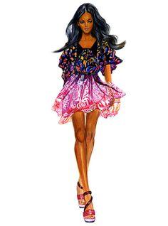 Runway Fashion Illustration Matthew Williamson by sunnygu Love Fashion, Runway Fashion, Fashion Art, Fashion Models, Girl Fashion, Fashion Design, Fashion Sketches, Fashion Illustrations, Fashion Drawings
