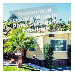 What a fabulous mobile home! Mobile Home Living, Home And Living, Mobile Home Makeovers, Cabinets And Countertops, Outdoor Entertaining, Palm Springs, Investing, Backyard, Outdoor Decor