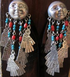 Federico Jimenez Moons with Doves/Turquoise/Coral Clip Earrings Retail:$425+SOLD!!!!