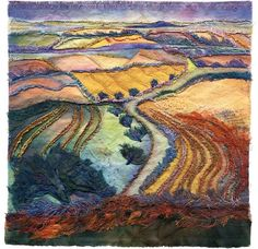Magz Roberts   Hawthorns on Walkers Hill 2   Dyed, cut and stitched fabric.