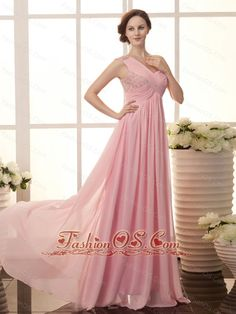 Baby Pink Chiffon One Shoulder Empire Beaded Celebrity New Style 2013 Prom Gowns  http://www.fashionos.com Amaze him in this dazzling full length evening dress. The cross over ruching detail extends to the shoulder creating a single strap style and the floral beaded accents makes the dress more shining and sparkling. the floor length skirt is gently gathered before flowing beautifully to floor.The soft, feminine lines of this dress are sure to make it a fast favorite.
