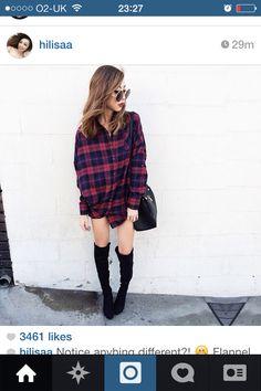Shirt & thigh high boots