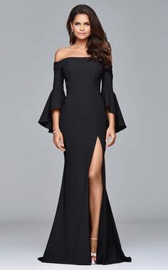 Gorgeous off the shoulder Faviana gown with high slit and long flowing sleeves