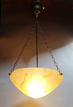 French Vintage Yellow Glass Paste Ceiling Light - Art Deco Style