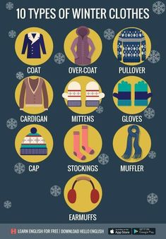 10 types of winterclothes easy_to_leran englishteaching englishlearning language institue Nirvana Learn English Speaking, Learn English Words, English Language Learning, English Lessons, Teaching English, English Verbs, English Vocabulary Words, English Writing, English Study