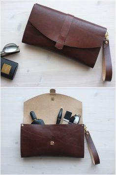 Brown leather clutch with a very rich texture and color from DIStories on Etsy #cognac #cognaccolor #brown #leather #clutch