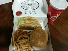 Jack in the box . Late night munchie meal . Hella-peno burger , 2 tacos , french fry's & curly fries .