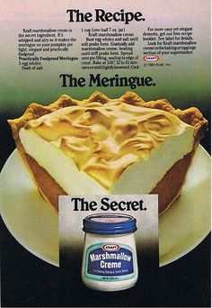 Marshmallow Creme ad from the early Just got a new computer so it's back to uploading pics and scans again. It's been awhile. Cream Recipes, Pie Recipes, Dessert Recipes, Cooking Recipes, Frosting Recipes, Cooking Tips, Food Tips, Food Ideas, Deserts