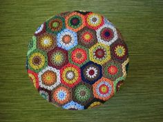 Crochet hexagon covered stool
