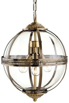 Mayfair 3413 Antique Brass Glass Globe Lantern Pendant Light from Lights 4 Living Lantern Pendant Lighting, Bronze Pendant Light, Hall Lighting, Globe Pendant Light, Ceiling Pendant, Ceiling Lights, Pendant Lights, Lighting Design, Window Lights