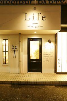 Life HAIR SALON Design Typography, Signage Design, Cafe Design, Store Design, Hair Salon Interior, Salon Interior Design, Cafe Interior, Storefront Signs, Store Signage