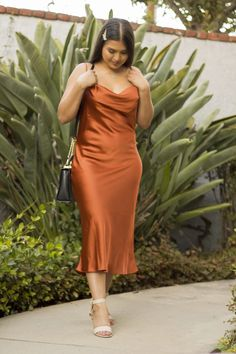 Satiny woven fabric creates a luxurious look across the Isabel Slip Dress with a cowl neckline, adjustable skinny straps, and a figure-flattering silhouette. A draped neckline is flattering for a r. Slip Dress Outfit, Chic Dress, Dress Outfits, Dress Up, Prom Dress, Slep Dress, Plus Size Dresses, Plus Size Outfits, Mode Plus