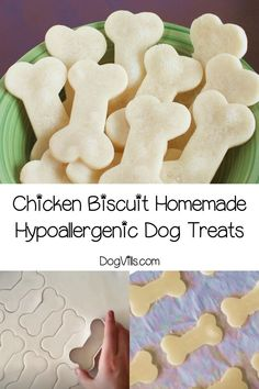 Looking for a super easy hypoallergenic dog treats recipe that you can make for Fido? Our chicken biscuits only have four gentle ingredients! You will find interesting recipes for dog on my account. Homemade Dog Treats, Pet Treats, Healthy Dog Treats, Healthy Food, Healthy Recipes, Dog Biscuit Recipes, Dog Treat Recipes, Dog Food Recipes, Recipe Treats