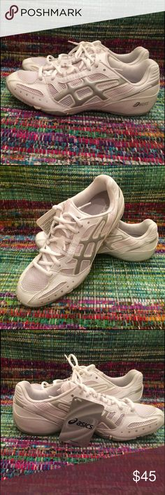 ASICS Women's NSG Cheer 2 Cheerleading Shoe 8.5 Brand new in box, with tags, never worn! ASICS Cheerleading shoe... Great for everyday sporty wear. White with silver detailing. Leather, cloth shoe with vinyl detailing. Asics Shoes Sneakers