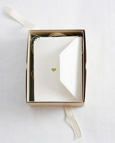 ♥ Stationery #heart #gold #seal #envelope #box #packaging
