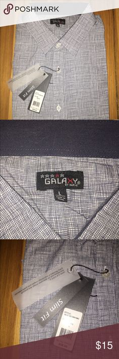 Brand New Galaxy by Harvic Slim Fit Button Up. L NWT. Long sleeve slim fit button up shirt. Make an offer. Interesting threading pattern. Galaxy by Harvic Shirts Casual Button Down Shirts