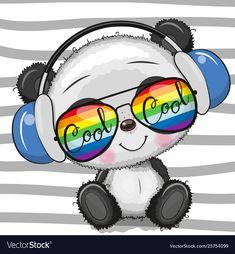 Cool Cartoon Cute Panda with sun glasses Gráficos Vectoriales Cute Panda Drawing, Cute Panda Cartoon, Cute Cartoon Animals, Cute Animals, Cute Panda Wallpaper, Cartoon Wallpaper, Panda Wallpapers, Cute Wallpapers, Cute Images