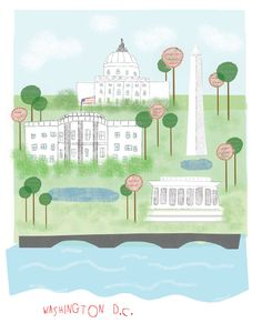 Washington DC art print illustration  11x14 print by confettielove, $20.00