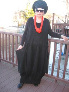 Hand Knitted Lagenlook Boho Balloon Long Jumper Black Dress