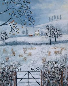 20 x Canvas print of winter landscape with cottages and birds from an acrylic original painting 'Winter Fields' by Jo Grundy Landscape Art, Landscape Paintings, Art And Illustration, Mixed Media Canvas, Mixed Media Art, Original Art, Original Paintings, Henri Rousseau, Painting Art