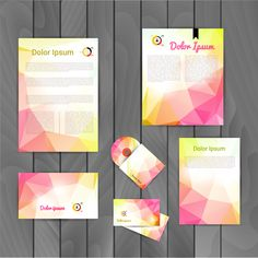 Colored corporate templates kit vector 05