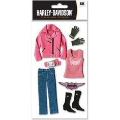 Amazon.com: Ek Success Harley Davidson Pink Dimensional Stickers, Pink Clothing: great for scrapbooking