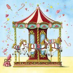 Risultato immagini per nina chen Decoupage Vintage, Art Fantaisiste, Carousel Party, Art Carte, Carousel Horses, Whimsical Art, Amusement Park, Cute Illustration, Cute Art