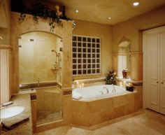 bath bathroom beautiful design interior design interiors rustic shower sink stone tuscan master bath master bathroom luxury bath tub bathtub