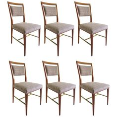 Brass and Blond Mahogany Dining Chairs by Paul McCobb for Calvin, Set of Six   From a unique collection of antique and modern dining room chairs at http://www.1stdibs.com/furniture/seating/dining-room-chairs/