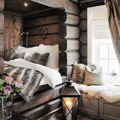 Cozy cabin hideout - Architecture and Home Decor - Bedroom - Bathroom - Kitchen And Living Room Interior Design Decorating Ideas - House Design, Cozy Bedroom, Home Decor Bedroom, Home, Cozy House, Cabin Decor, Cabin Interiors, Winter Bedroom, Bed