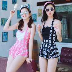 Bunny Pattern Printed Black and Pink Dress Swim Suit Swimsuit SD00540 - SYNDROME - Cute Kawaii Harajuku Street Fashion Store